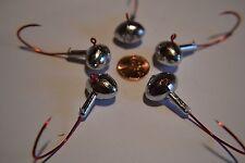 9 pk 1//4 oz Football Bass Fishing Jigs Red Sickle Hooks