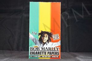 FULL BOX (25 packs) AUTHENTIC BOB MARLEY 1 1/4 SIZE PAPERS PURE HEMP NATURAL GUM