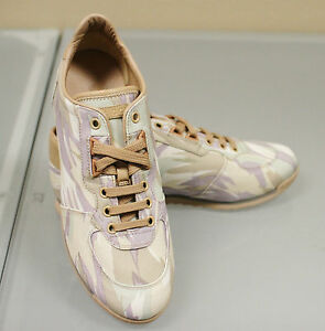 425-New-GUCCI-Canvas-Leather-Ladys-Sneakers-Running-SHOES-41G-11-5-w-GG-Logo