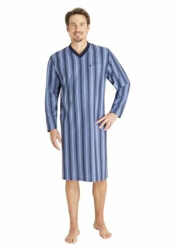 HAJO Chemise de nuit manches longues 53325 602 bleu rayé Climatiques Confort