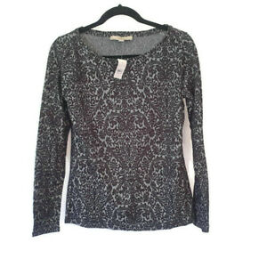 NEW-Ann-Taylor-LOFT-Long-Sleeve-Black-White-Velvet-Blouse-Career-Small