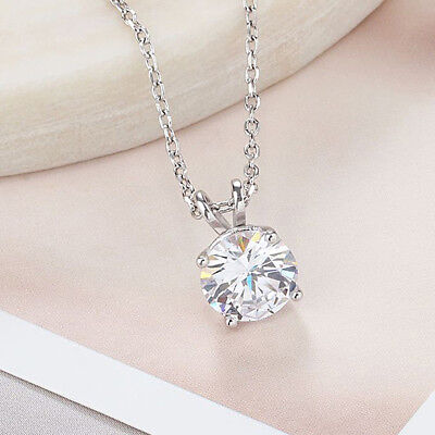 """1.50 Ct Round Cut Solitaire 14K White Gold Over Heart Necklace W// 18/"""" Chain"""