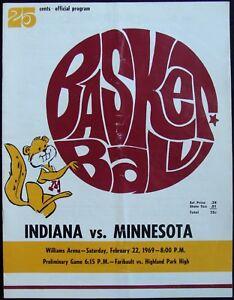 Details about 1969 MINNESOTA GOPHERS V  INDIANA BASKETBALL GAME PROGRAM @  WILLIAMS ARENA