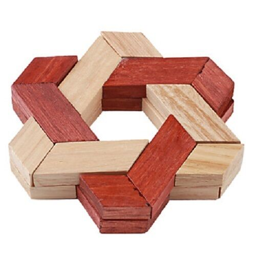 Wooden Wood Educational Triangle Lock 3D IQ Puzzle Cube Toy Brain Teaser Puzzle