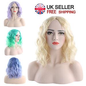 Mujeres-cosplay-peluca-de-pelo-Azul-Rubia-Verde-Violeta-Oro-Mediano-35CM-resistente-al-calor