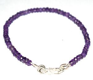 925-Sterling-Silver-Purple-Amethyst-Gemstone-5-10-Inch-Bracelet-4-4-5-mm-H33