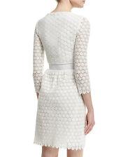 $568 Diane von Furstenberg DVF NOLLY Cotton Honeycomb A-Line Ivory Dress  6 - S