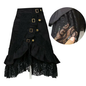 Women-Steampunk-Clothing-Skirt-Party-Club-Wear-Punk-Gothic-Black-Lace-Skirt-Hot