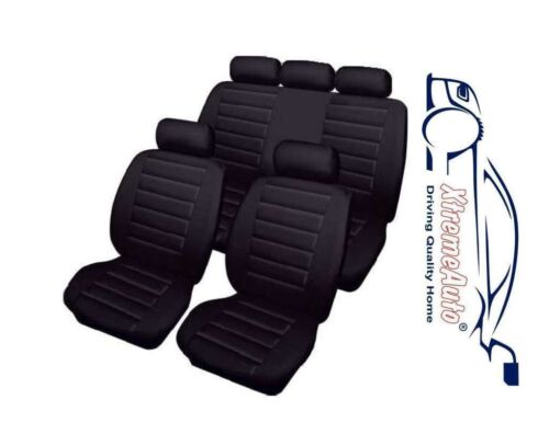 Bloomsbury Black Leather Look 8 PCE Car Seat Covers For Jaguar S-Type X-Type