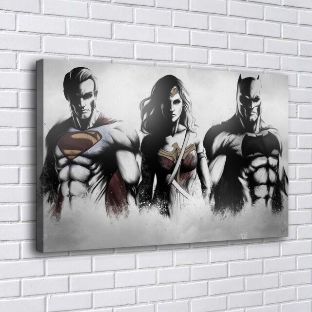 Superman Wonder Woman Batman Home Decor Room Hd Canvas Print Wall Art Painting For Sale Online