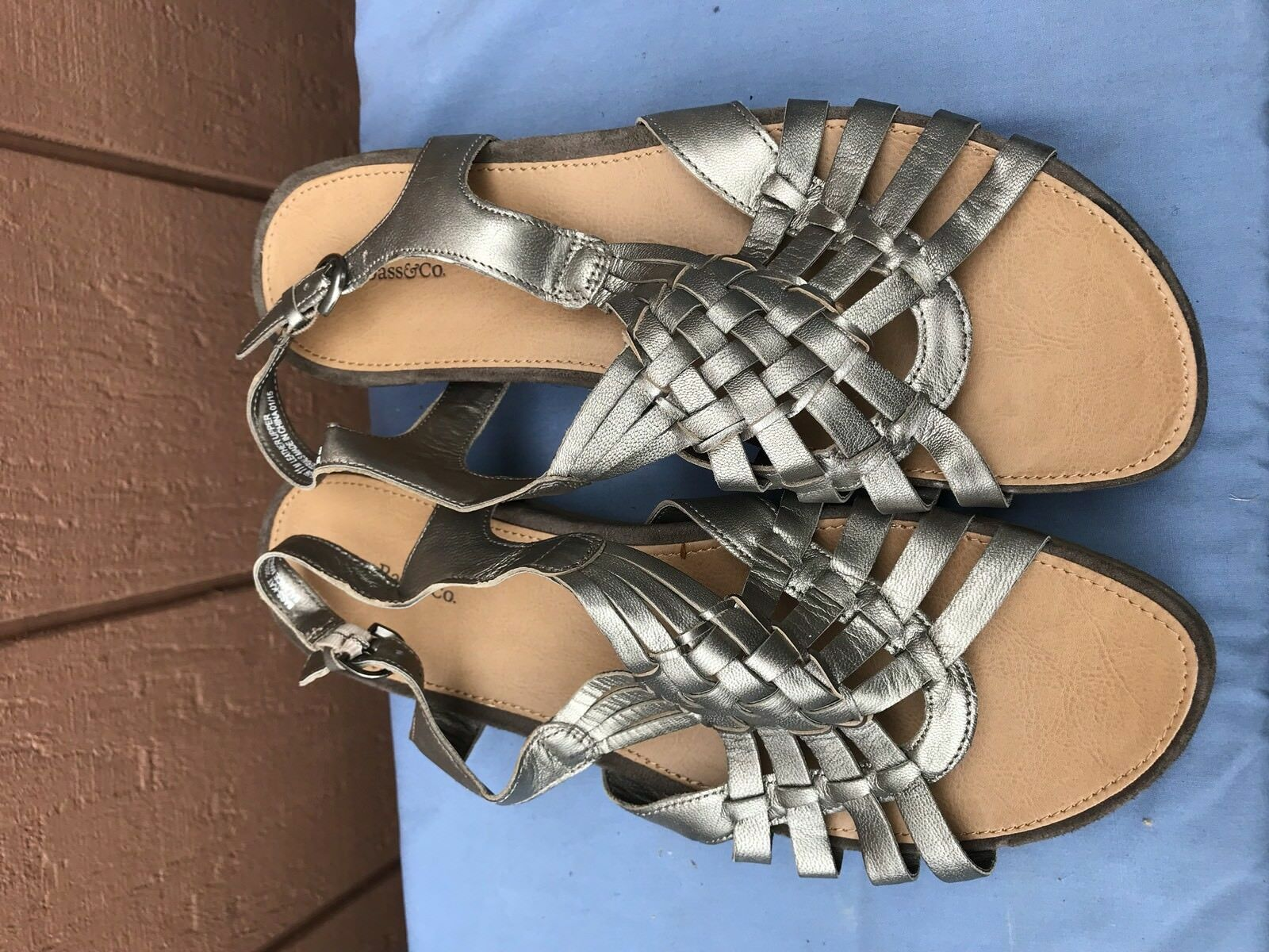 G.H. G.H. G.H. Bass & Co Kat US 11 Metallic Silver Woven Leather Ankle Strap Sandals A4 6a6398