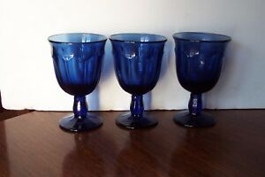 3-Noritake-Crystal-Provincial-Dark-Colonial-Blue-4-5-034-Wine-Goblets-Glasses