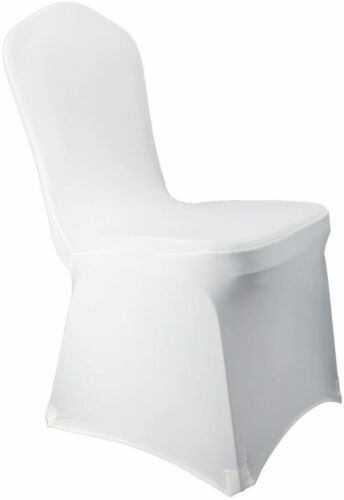 """White Dining Chair Cover Wedding Spandex No Clips Needed fits 14-18/"""" Chairs"""