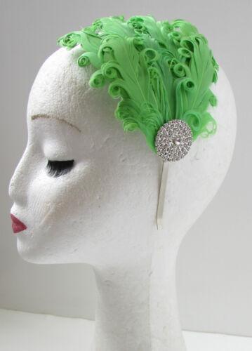Green /& silver vintage plume bandeau années 20 bandeau tambour great gatsby W44