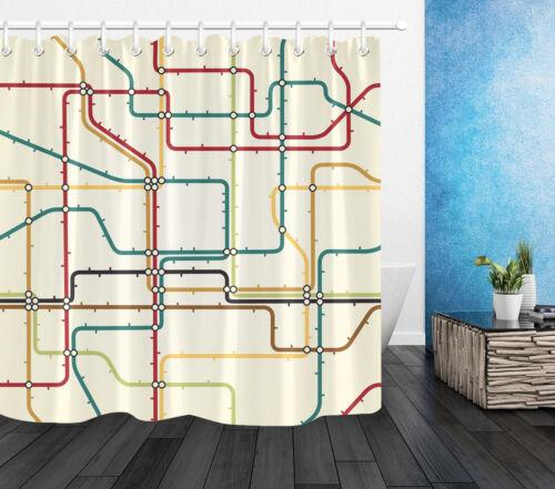 LB Waterproof Fabric Shower Curtain 12 Hooks /& Bath Mat Generic Subway Map Decor