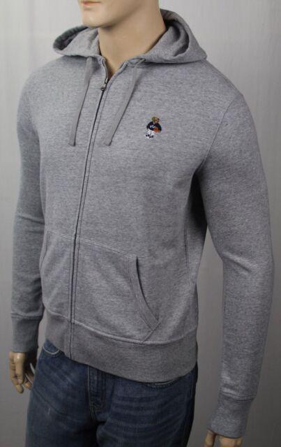Ralph Lauren Grey Polo Teddy Bear Basketball Hoodie Full Zip Sweatshirt NWT