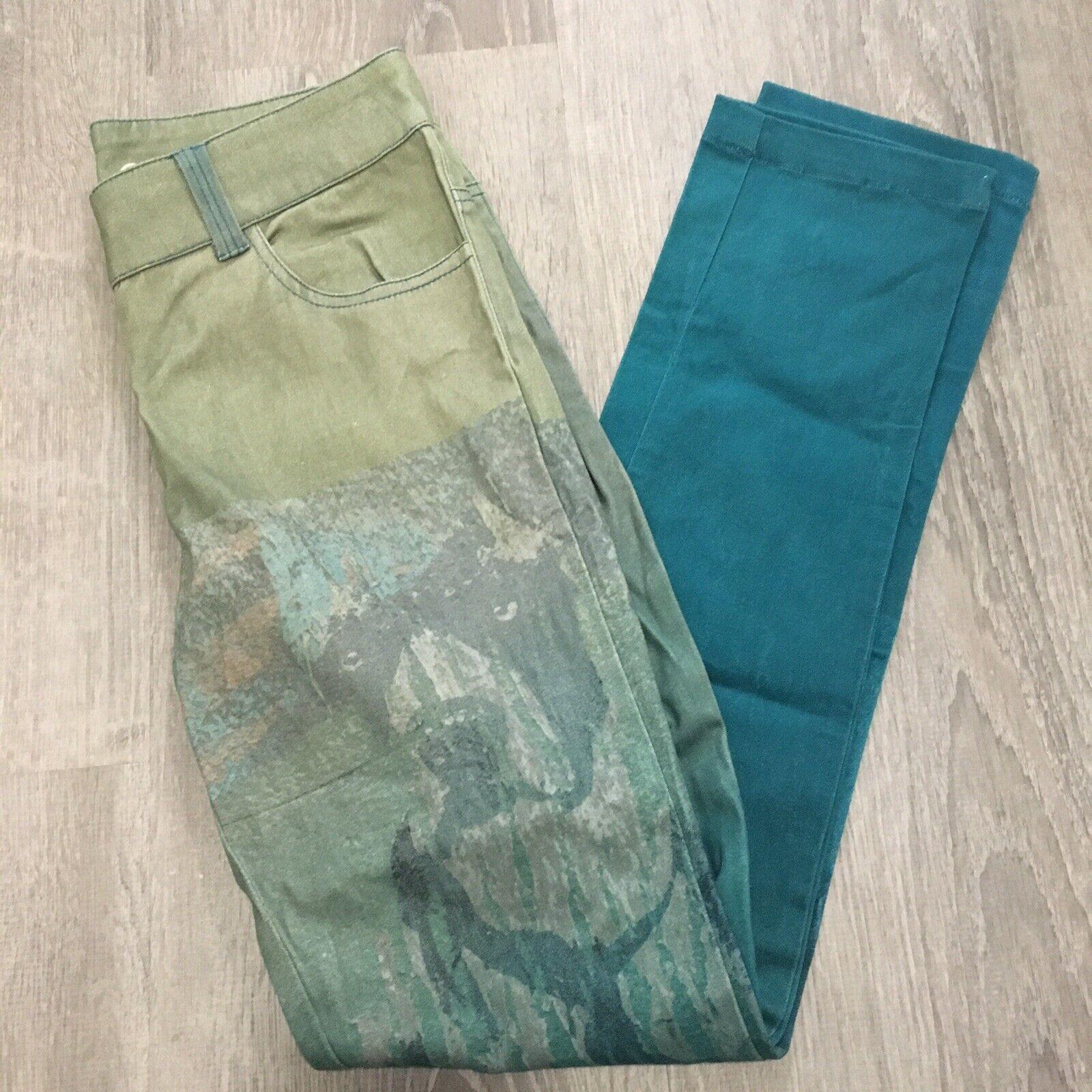 YHOSS Womens Pants Sz 6 Eu 36 Dog Image bluee Ombre Skinny Leg New Km40