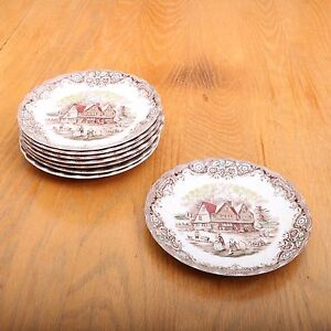 8 Johnson Brothers Heritage Hall Colonial Overhang Saucers | eBay