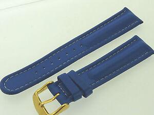 # L230 # Uhrenarmband Leder Bracelet Juwelier QualitÄt 20 Mm Blau Mit Naht+wulst
