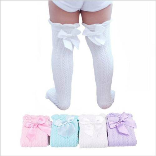 Toddler Kid Baby Girl Knee High Long Socks Bow Cotton Casual Stockings Sale