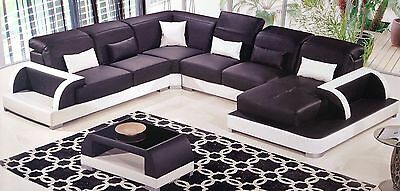 Pleasing Contemporary Black White Leather Sectional Sofa Chaise Loveseat Coffee Table Set Ebay Pabps2019 Chair Design Images Pabps2019Com