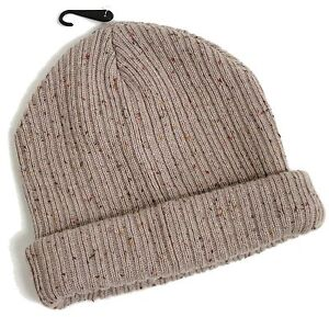 MENS STONE FLECK NEPPY MINI BEANIE OATMEAL THICK RIBBED HAT ONE SIZE ... 37ce38f2275