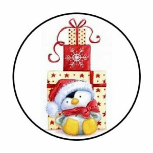 48-CHRISTMAS-PENGUIN-PRESENTS-ENVELOPE-SEALS-LABELS-STICKERS-1-2-034-ROUND