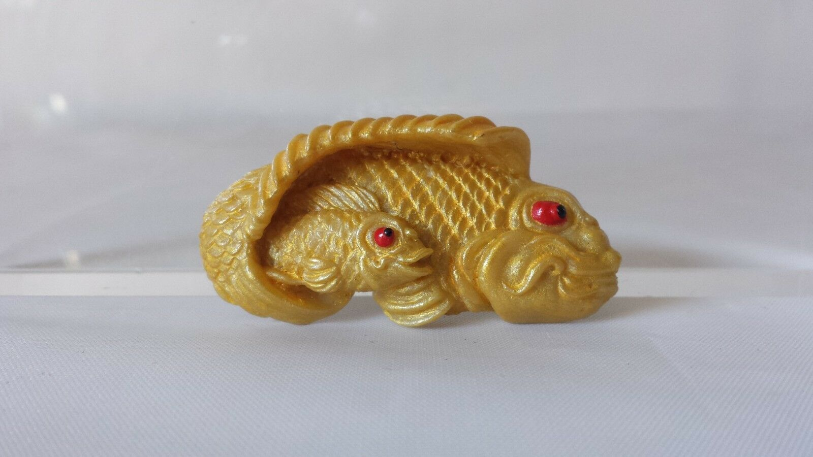 Vintage Ralph Massey Resin Character Pin Fish Mother & Baby 2.25  Signed