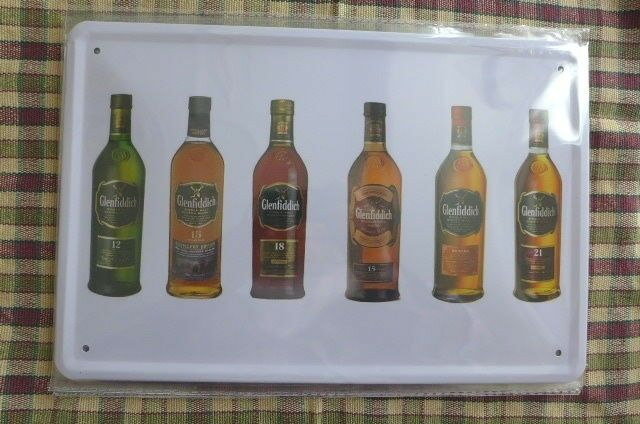 Whiskey Glenfiddich Tin Metal Sign Painted Poster Wall Art Hobby Collector Pub