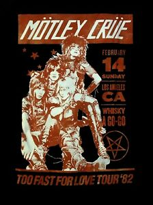 MOTLEY-CRUE-cd-lgo-WHISKEY-A-GO-GO-039-82-Official-SHIRT-LRG-New-too-fast-for-love