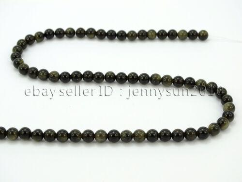 Natural Golden Obsidian Gemstone Round Beads 15.5/'/' 6mm 8mm 10mm 12mm 14mm
