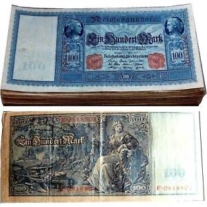 100 Reichsmark Mark 1910 Rouge Siegel Conservation 3 Vf/f / 989016 ## R6byjl1x-08000406-877014814