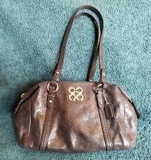 Coach Black Destressed Leather Julia Mini Duffle Handbag Purse #45524 Silver