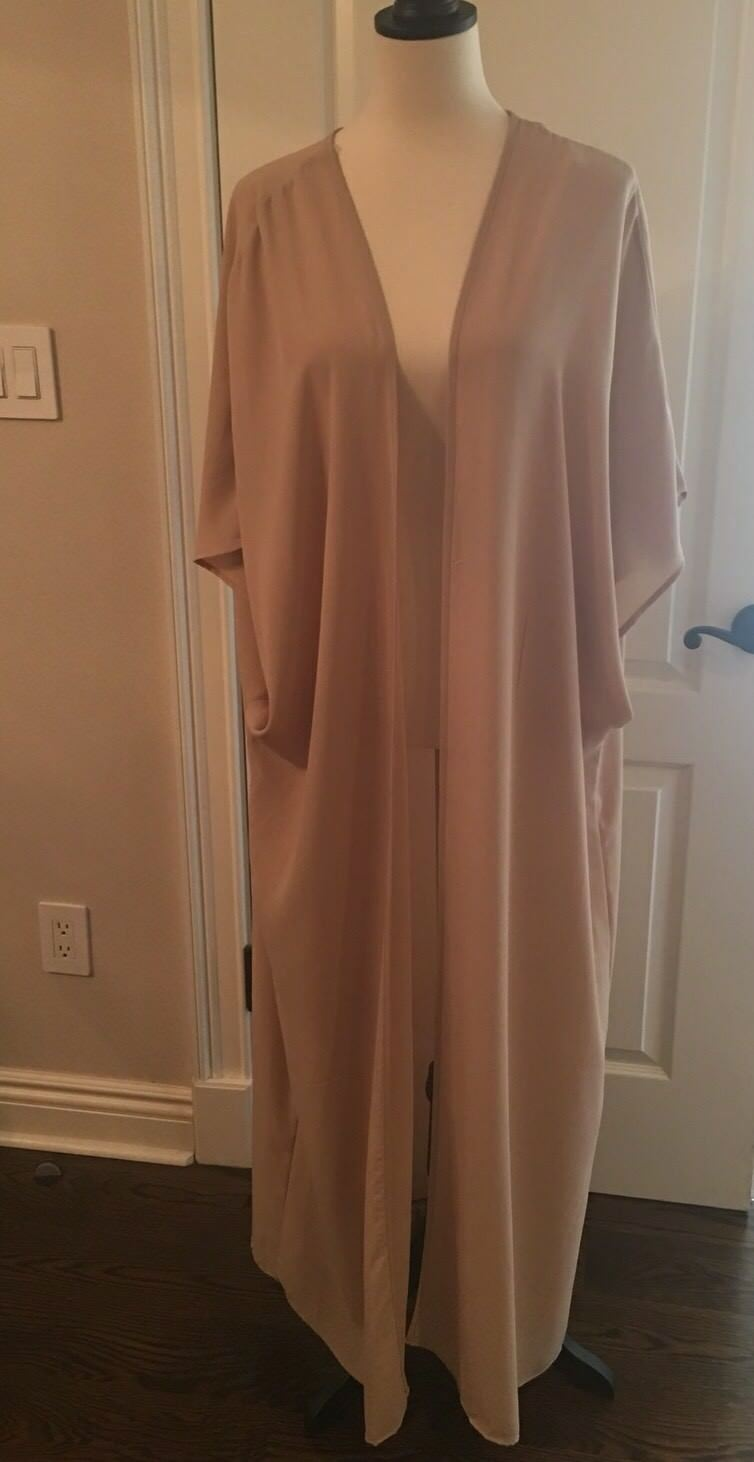 New damen Designer Beige Short Sleeve Open Front Long Duster Cardigan Größe L