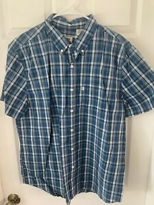 LEVIS-MENS-XL-BUTTON-UP-DOWN-COLLARED-SHIRT-TEE-BLUE-PLAID-BRAND-NEW-54-MSRP