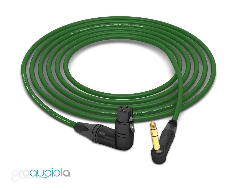 Mogami 2534 Quad Cable   Neutrik Gold 90º TRS to 90º XLR-F   Grün 25 Feet 25'
