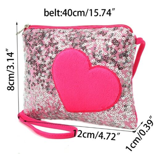 Shoulder Bag Children Kids Girls Mini Heart Sequin Messenger Handbag Purse Gifts