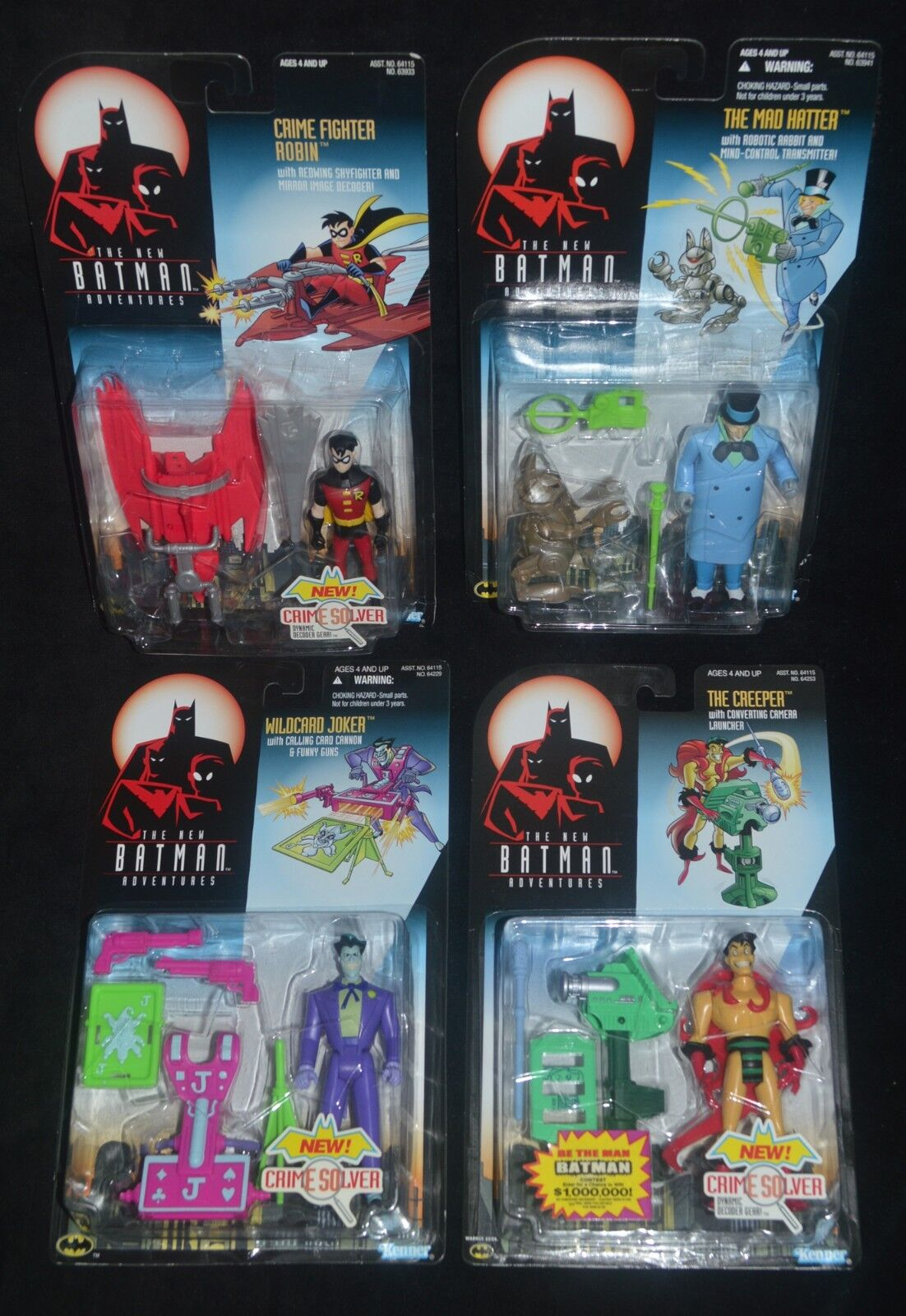 BTAS Crime Fighter ROBIN, MAD HATTER, Wildcard JOKER & The CREEPER Mattel MIP