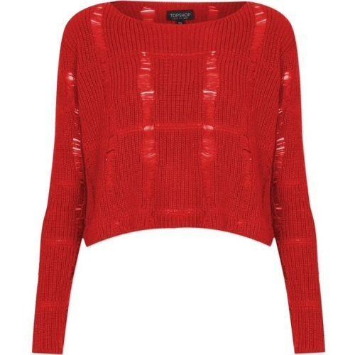 Beskåret Topshop Stitch Størrelse Cosplay Ladder Jumper Knit Red 12 gTqzqXw