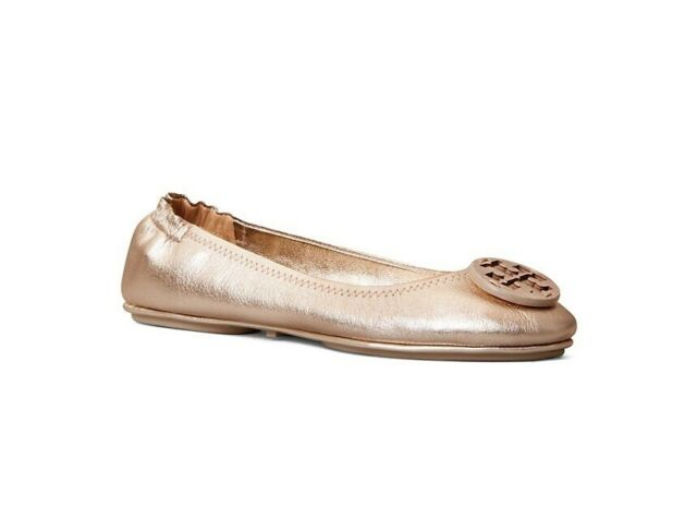 NIB Tory Burch Minnie Leather Ballet Travel Flat Rose Gold US 8 M AUTHENTIC