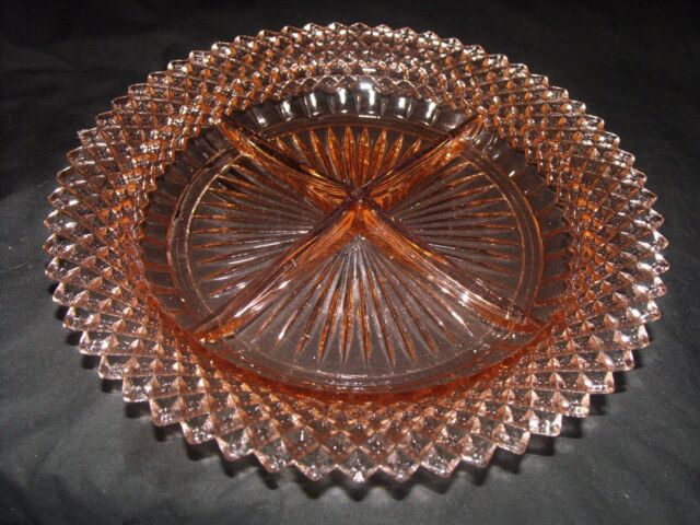 ANCHOR HOCKING MISS AMERICA PINK DEPRESSION GLASS 4 SECTION CONDIMENT DISH