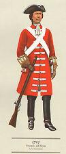 VINTAGE MILITARY CAVALRY UNIFORM PRINT ~ 1705 ~ 3rd HORSE ~ TROOPER