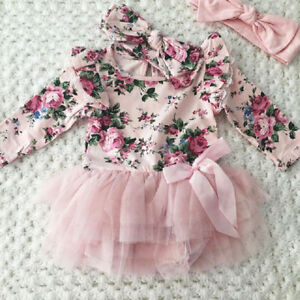 8b9f656ac15 UK 2Pcs Newborn Baby Girl Floral Lace Tulle Romper Jumpsuit Outfit ...