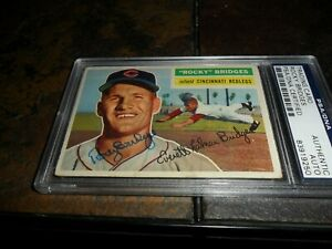 "1956 Topps #324 Everett ""Rocky"" Bridges RC PSA/DNA Autograph CINCINNATI RED LEGS"