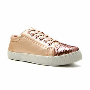 5d694541e06 Image is loading Metallic-Sparkly-Glitter-Toe-Lace-up-trainers-pumps-