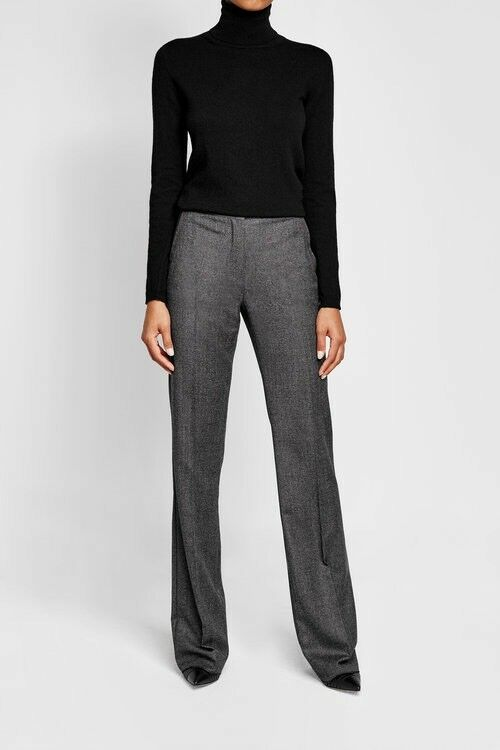 Max Mara Wide-Leg Virgin Wool, Tailored Trousers, Navy Trousers, Size 4UK