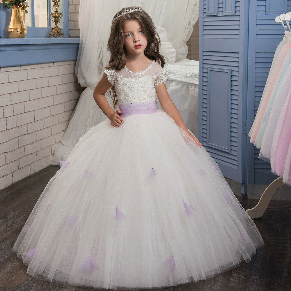 ABAO Childrens Girls Elegant Embroidered Floral Ball Gown Wedding Dress ZG8