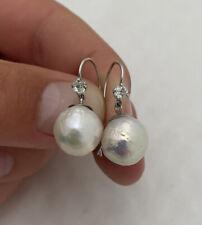 18ct Gold Large Baroque Pearl & Old Cut Diamond Drop Earrings 18K 750.