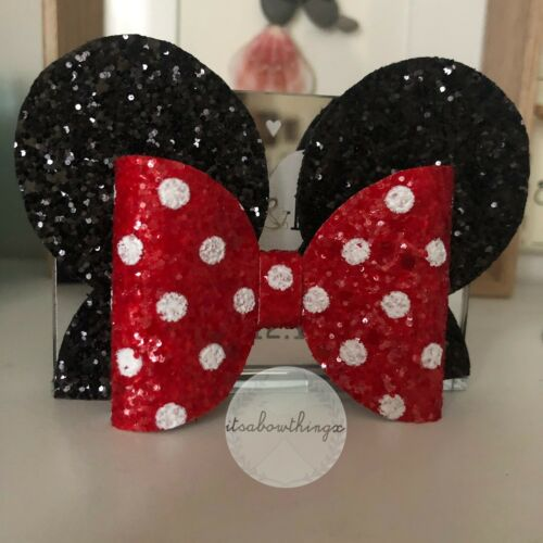 Minnie Mouse Inspired Glitter Hair Bow Pink Red
