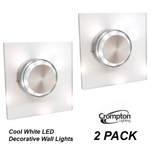 2 x LED Performance Outdoor Square Wall Light Glass Cool White 6000K 240V IP44